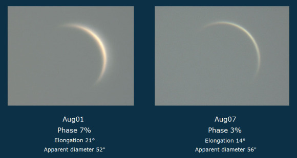 Going, going, gone! Venus photographed in its beautiful crescent phase on two occasions last week. When the planet reaches inferior conjunction this Saturday (August 15),  the crescent will expand to nearly 1 arc minute across. No planet comes closer to Earth than Venus — just 27 million miles this week. Credit: Giorgio Rizzarelli