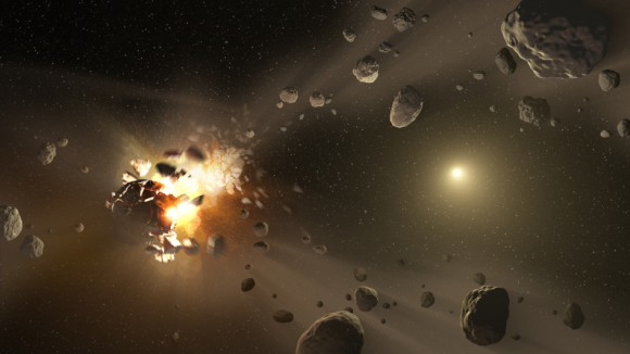 This artist's conception shows how families of asteroids are created. Credit: NASA/JPL-Caltech