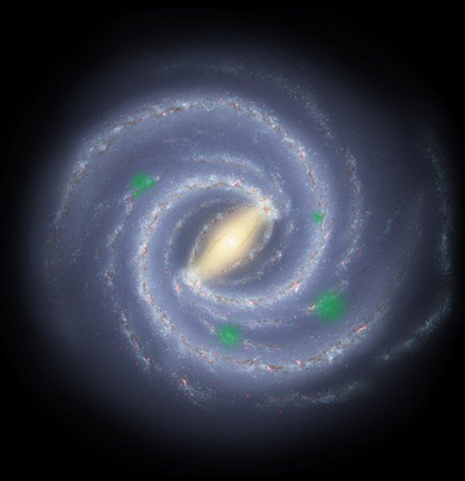 "In this theoretical artist's conception of the Milky Way galaxy, translucent green ""bubbles"" mark areas where life has spread beyond its home system to create cosmic oases, a process called panspermia. New research suggests that we could detect the pattern of panspermia, if it occurs. Image credit: NASA/JPL/R. Hurt"
