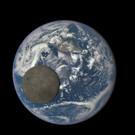 This image shows the far side of the moon, illuminated by the sun, as it crosses between the DSCOVR spacecraft's Earth Polychromatic Imaging Camera (EPIC) camera and telescope, and the Earth - one million miles away. Credits: NASA/NOAA
