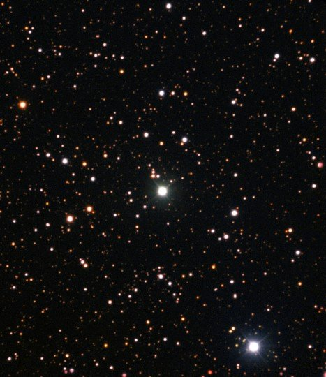 This image from the New Technology Telescope at ESO's La Silla Observatory shows Nova Centauri 2013 in July 2015 as the brightest star in the centre of the picture. This was more than eighteen months after the initial explosive outburst. This nova was the first in which evidence of lithium has been found. Credit: ESO