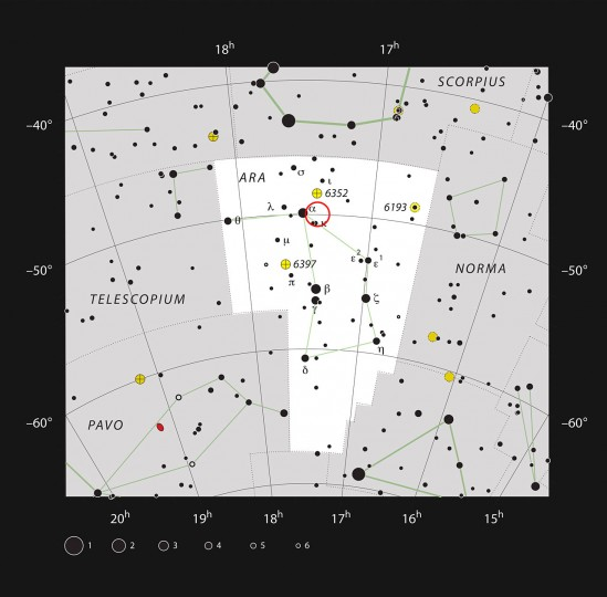 This chart shows the constellation of Ara (The Altar). Most of the stars visible to the naked eye on a clear night are shown. The location of the open cluster, IC 4651, which can be well seen in a medium-sized telescope, is marked with the red circle. Credit: ESO/IAU and Sky & Telescope