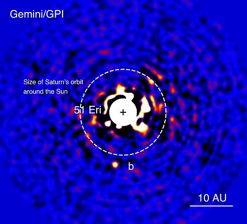 Figure 1. Discovery image of 51 Eri b with the Gemini Planet Imager taken in the near-infrared light on December 18, 2014. The bright central star has been mostly removed by a hardware and software mask to enable the detection of the exoplanet one million times fainter. Credits: J. Rameau (UdeM) and C. Marois (NRC Herzberg).