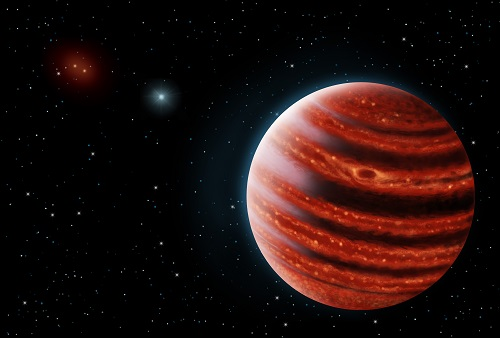 Figure 2. An artistic conception of the Jupiter-like exoplanet, 51 Eri b, seen in the near-infrared light that shows the hot layers deep in its atmosphere glowing through clouds. Because of its young age, this young cousin of our own Jupiter is still hot and carries information on the way it was formed 20 million years ago. Credits: Danielle Futselaar & Franck Marchis, SETI Institute.