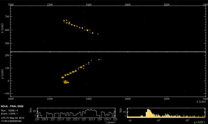 This event in the NOvA far detector in Minnesota, shown from two different viewpoints, is a candidate electron neutrino interaction.