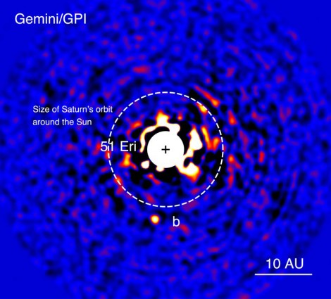 This image of planet 51 Eridani b was taken with the Gemini Planet Imager in near-infrared light in December 2014. The bright central star has been mostly removed to enable the detection of the exoplanet one million times fainter. Image by Julien Rameau (UdeM) and Christian Marois (NRC Herzberg).