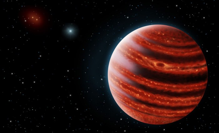 An artistic conception of the Jupiter-like exoplanet, 51 Eri b, seen in the near-infrared light that shows the hot layers glowing through clouds. Because of its young age, this young cousin of Jupiter is still hot and carries information on the way it was formed 20 million years ago. Image by Danielle Futselaar & Franck Marchis/SETI Institute.