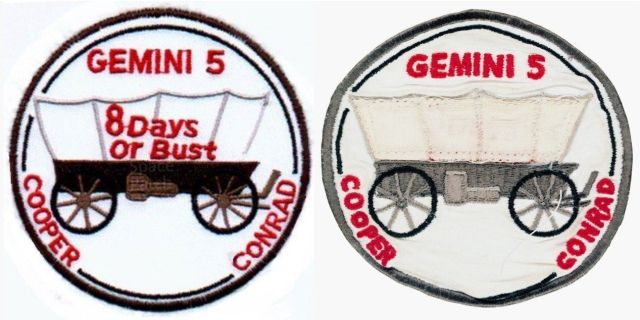 "Gemini V was the first mission to have a crew insignia. The original version, left, featured a Conestoga covered wagon noting the pioneering effort of Gemini. On the side was the slogan ""8 Days or Bust."" After reviewing the design, NASA Administrator James Webb approved the concept, but expressed reservations about the slogan which was subsequently covered up on the version worn by the astronauts for the flight. Credits: NASA"