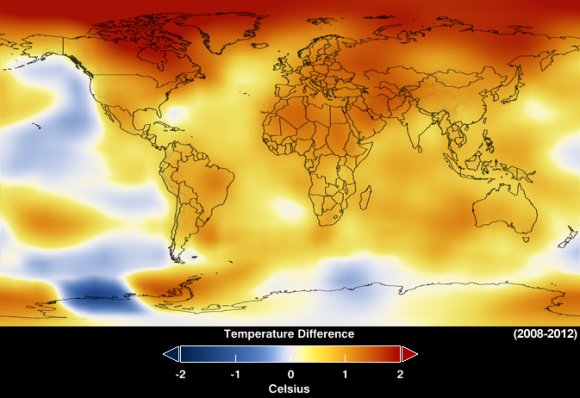 This map represents global temperature anomalies averaged from 2008 through 2012. Credit: NASA Goddard Institute for Space Studies/NASA Goddard's Scientific Visualization Studio.