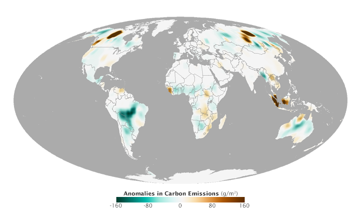 Credits: NASA Earth Observatory map by Joshua Stevens and Jesse Allen, using data from the Global Fire Assimilation System (GFAS) and the State of the Climate in 2014 report.