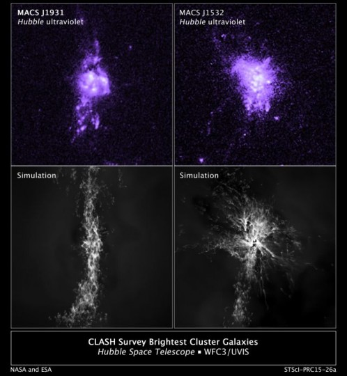 Top: Actual Hubble observations of gas density in the central portion of two galaxies. Bottom: Computer simulations of knots of star formation in the two galaxies show how gas falling into a galaxy's center is controlled by jets from the central black hole. Credits: NASA/ESA/M. Donahue/Y. Li