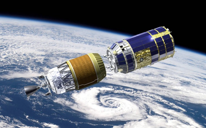 This artist's concept shows the Japan Aerospace Exploration Agency's (JAXA) H-II Transport Vehicle-5 separating from its H-IIB launch vehicle. Credits: JAXA