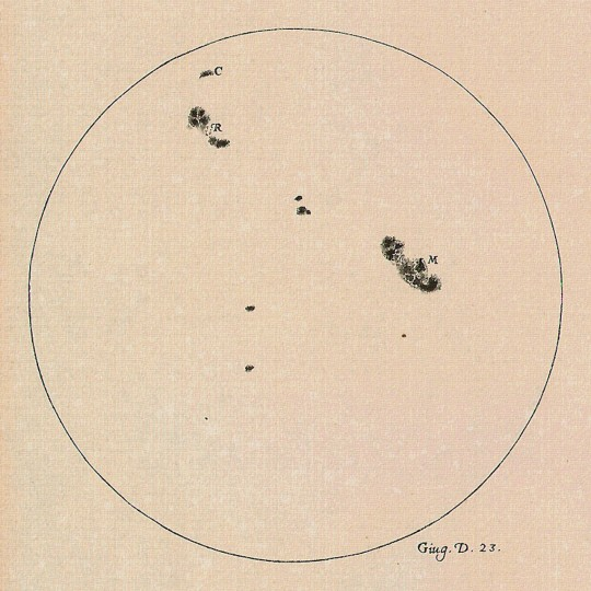 A drawing of the Sun made by Galileo Galilei on 23 June 1613 showing the positions and sizes of a number of sunspots. Galileo was one of the first to observe and document sunspots. Credit: The Galileo Project/M. Kornmesser