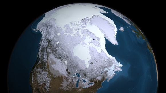The Earth has been through five major ice ages in the past 2.4 billion years, including the one we are currently living in. Credit: NASA Goddard's Scientific Visualization Studio
