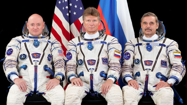 The Soyuz relocation crew members (from left) Scott Kelly, Gennady Padalka and Mikhail Kornienko.