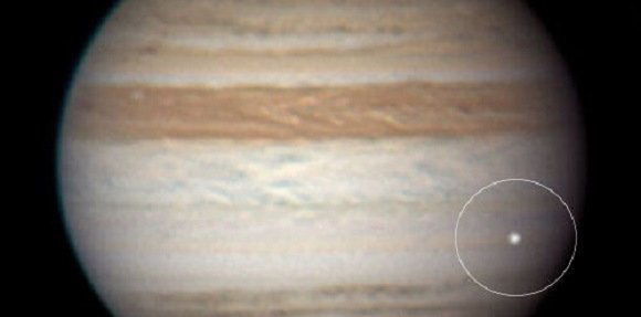 A color composite image of the June 3rd Jupiter impact flash. Credit: Anthony Wesley