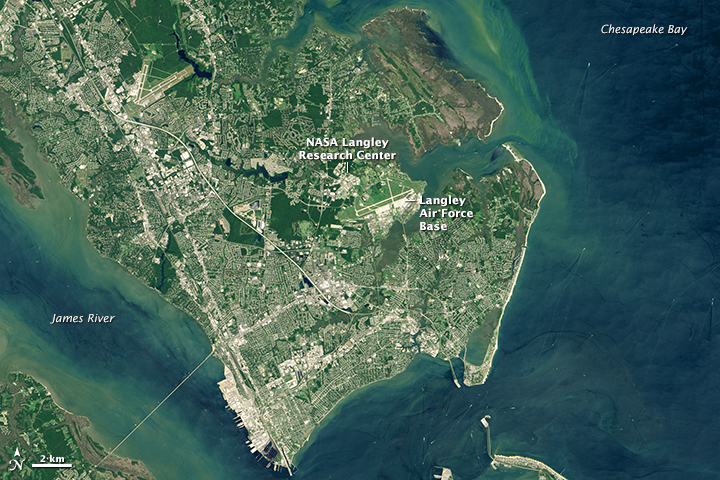 Langley Research Center is surrounded by water and sits on land that is still naturally subsiding from the last Ice Age. (NASA Earth Observatory image by Joshua Stevens, using Landsat data from the U.S. Geological Survey)