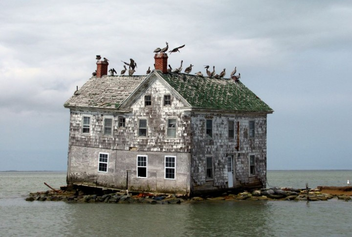 The last house on Holland Island in Chesapeake Bay, Maryland, collapsed a few months after this photo was taken in 2010 -- the victim of postglacial rebound and rising global sea levels. Settled in the 1600s, the island is now completely under water at high tide. Credits: Image courtesy Flickr user baldeaglebluff/CC BY