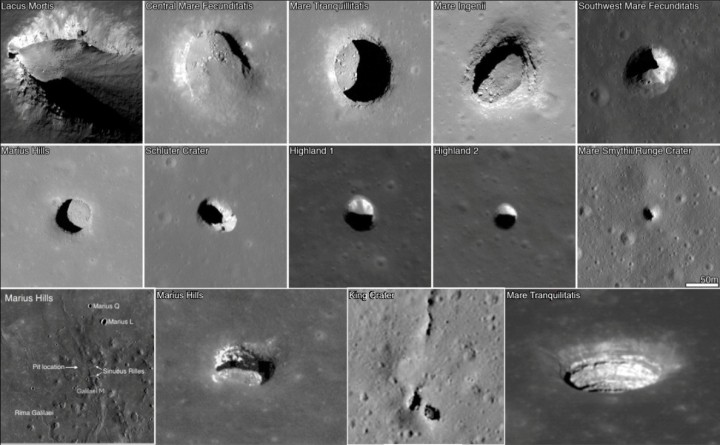 Everyone knows surface of our moon is scattered with various craters. However, scientists believe some of them to be skylights of underground caves that were formed by lava flows. Now they are developing technology to research them closer. Image credit: NASA, news.wisc.edu.