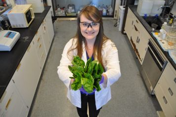 Nichola M. Kinsinger, a post-doctoral researcher at UC Riverside, studies food safety related to leafy green vegetables