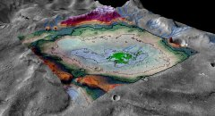 A perspective rendering of the Martian chloride deposit and surrounding terrain. Image credit: LASP / Brian Hynek.