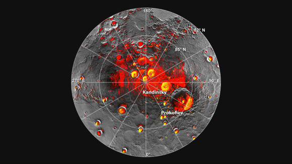 Images of Mercury's north pole, provided by MESSENGER. Red indicates shaded regions while yellow indicates the presence of ice. Credit: NASA/JPL