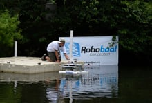 During the 2015 AUVSI Foundation and Office of Naval Research-sponsored RoboBoat competition held in Virginia Beach, Va., student teams race autonomous surface vehicles (ASVs) of their own design through an aquatic obstacle course. (U.S. Navy photo by John F. Williams/Released)