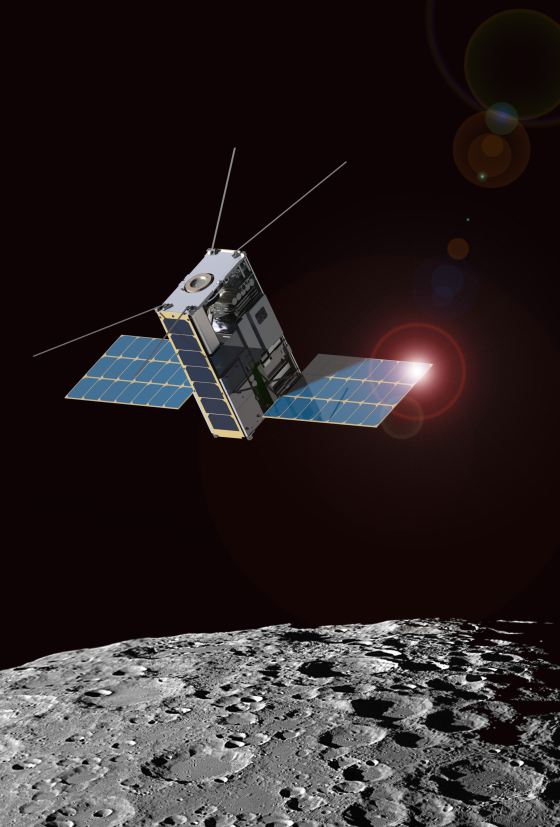 Morehead State University and Goddard are partnering to create the Lunar IceCube mission shown in this artist's rendition. Credits: Morehead State University