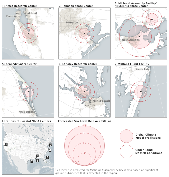 The maps above show the amount of forecasted sea level rise at coastal NASA centers. The rings represent the relative amount of rise in each place, and do not show inundated areas. (NASA Earth Observatory maps by Joshua Stevens, using data from the Climate Adaptation Science Investigators (CASI) working group)