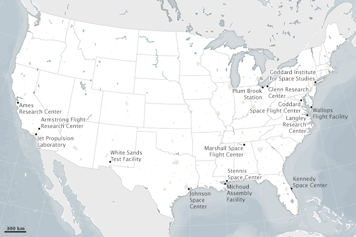 The majority of NASA centers and facilities are on or very near the coast. (NASA Earth Observatory map by Joshua Stevens. Explore the interactive version on NASA's location page)