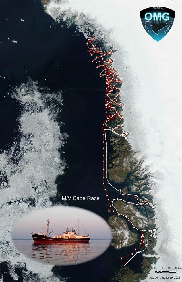 The M/V Cape Race (inset) measured seafloor depths around Greenland this summer. Its complex path followed deep trenches dug by ancient glaciers. The track starts light and becomes darker throughout the survey. Sea ice at the cruise outset, July 24, is shown at left. Credits: NASA/JPL-Caltech