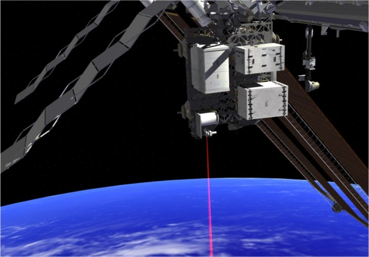 This artist's concept shows how the Optical Payload for Lasercomm Science (OPALS) laser beams data to Earth from the International Space Station. Credits: NASA