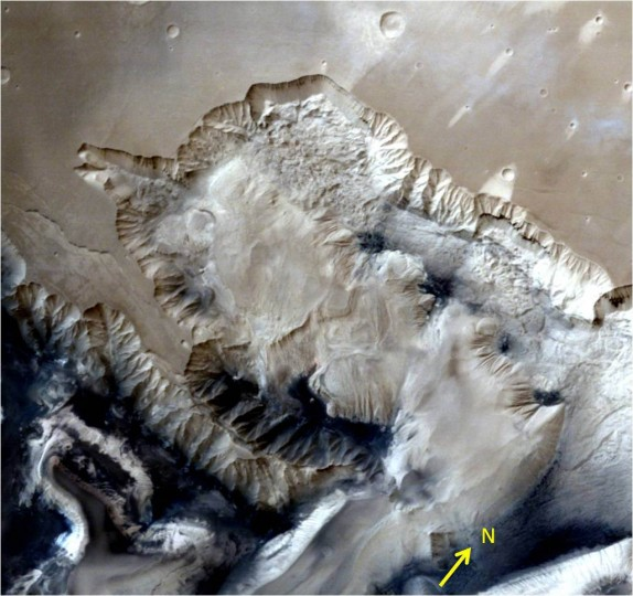 This view over the Ophir Chasma canyon on the Martian surface was taken by the Mars Colour Camera aboard India's Mars Orbiter Mission (MOM). Ophir Chasma is a canyon in the Coprates quadrangle located at 4° south latitude and 72.5° west longitude. It is part of the Valles Marineris canyon system. Credit: ISRO