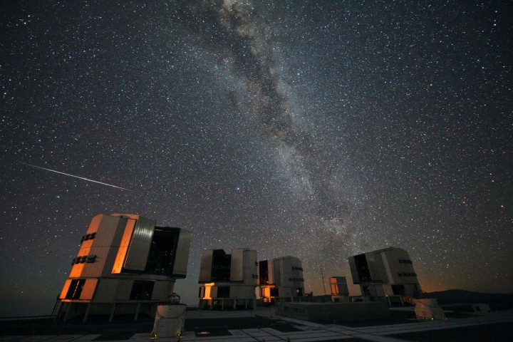 A Perseid seen in August 2010 above the four enclosures of the European Southern Observatory's Very Large Telescope at Paranal, Chile. Credit: ESO / S. Guisard.