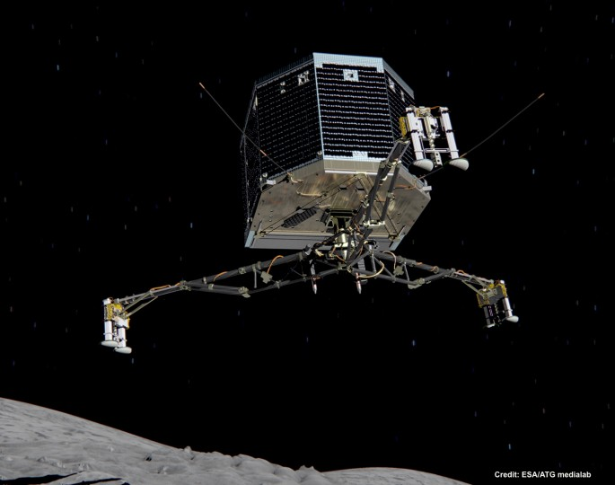Illustration of the Rosetta Missions Philae lander on final approach to a comet surface. (Photo: ESA)