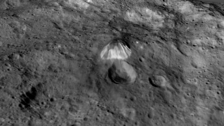 Among the highest features seen on Ceres so far is a mountain about 4 miles (6 kilometers) high, which is roughly the elevation of Mount McKinley in Alaska's Denali National Park. Vertical relief has been exaggerated by a factor of five to help understand the topography. Credits: NASA/JPL-Caltech/UCLA/MPS/DLR/IDA/LPI