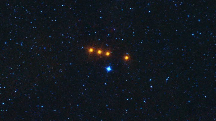 The asteroid Euphrosyne glides across a field of background stars in this time-lapse view from NASA's WISE spacecraft. WISE obtained the images used to create this view over a period of about a day around May 17, 2010, during which it observed the asteroid four times. Image credit: NASA/JPL-Caltech