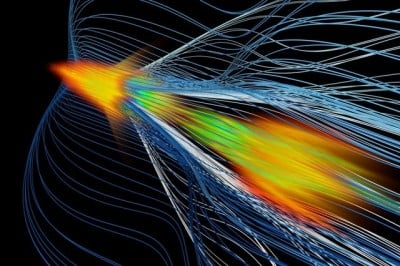 Weiming An/UCLA Rendering showing high-energy positron acceleration in plasma — a new method that could help build next-generation particle colliders.