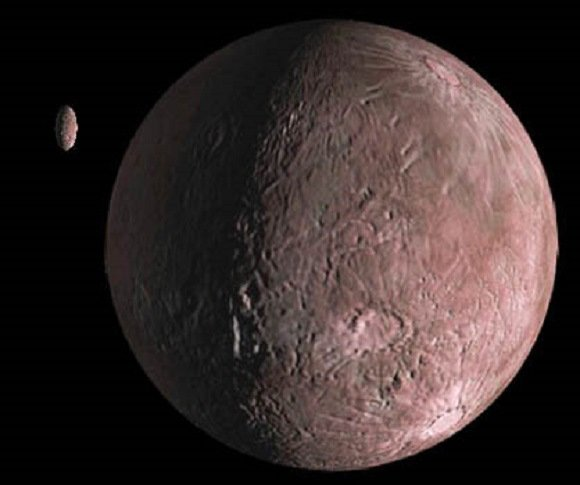Artist's impression of the moderately red Quaoar and its moon Weywot. Credit: NASA/JPL-Caltech/R. Hurt (SSC-Caltech)