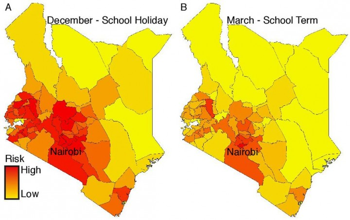 Using mobile phone data, the researchers constructed these maps to characterize rubella fluxes across the country. Section A shows the risk of rubella during a major holiday and school term break. Section B shows the risk of rubella while school is in session. Most provinces have lower risks during the school year with higher outbreak rates during breaks and holidays. Image credit: Amy Wesolowski, Harvard T.H. Chan School of Public Health; and C. Jessica Metcalf, Department of Ecology and Evolutionary Biology and Woodrow Wilson School of Public and International Affairs, Princeton University