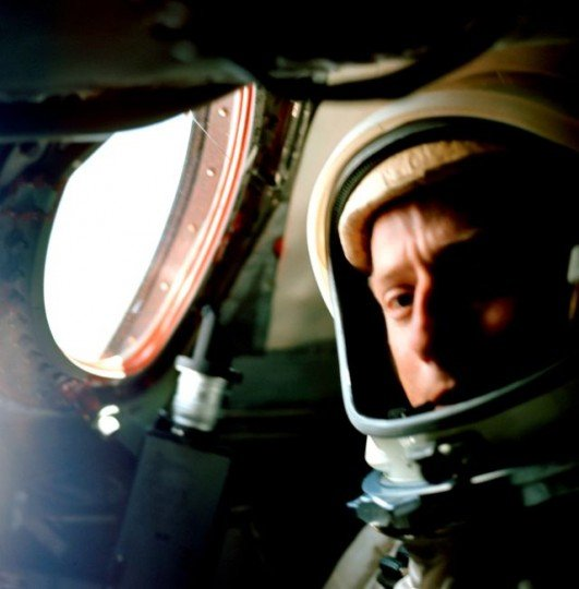 "Gemini V pilot Charles ""Pete"" Conrad inside the Gemini V spacecraft as it orbited Earth between Aug. 21 through 29, 1965. Credits: NASA/Gordon Cooper"