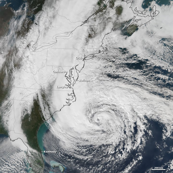 Hurricane Sandy had wind, wave, or water impacts on five NASA centers along the U.S. East Coast. (NASA Earth Observatory image by Jesse Allen, using Suomi NPP VIIRS data provided by Cooperative Institute for Meteorological Satellite Studies)