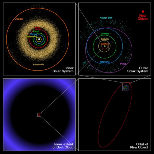 Sedna's orbit, compared to other bodies in the Solar System, the Kuiper Belt and the Oort Cloud. Credit: web.gps.caltech.edu