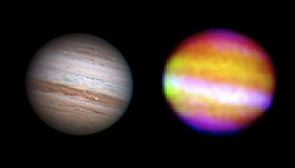 Infrared image of Jupiter from SOFIA's First Light flight composed of individual images at wavelengths made by Cornell University's FORCAST camera. Credit: Anthony Wesley/Cornell University