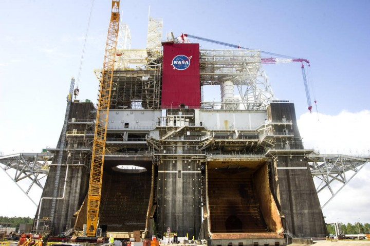 Engineers completed the addition of about 1 million pounds of structural steel work on the SLS core stage test frame on the B-2 Test Stand at the agency's Stennis Space Center near Bay St. Louis, Mississippi. Credits: NASA/Stennis