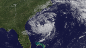 Satellite image of Subtropical Storm Ana forming off the East Coast. This image was taken by GOES East on May 8, 2015. Image credit: NOAA