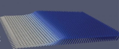 This image taken from a computer simulation shows nanomagnets tilted at various angles, with the white regions indicating greater angles of tilt. Researchers have found that even a small tilt of 2 degrees will facilitate magnetic switching. Image credit: Samuel Smith, UC Berkeley