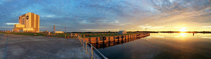 The Sun rises at Kennedy Space Center. The sea is steadily doing the same. (Photo by NASA/Andres Adorno, CC BY-NC 2.0)