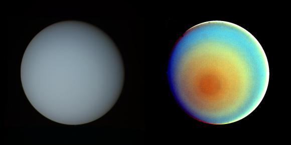 These two pictures of Uranus — one in true color (left) and the other in false color — were compiled from images returned Jan. 17, 1986, by the narrow-angle camera of Voyager 2. Credit: NASA/JPL