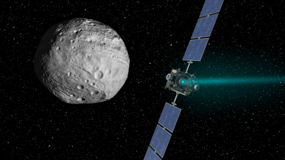 Artist's concept of the Dawn spacecraft arriving at Vesta. Image credit: NASA/JPL-Caltech